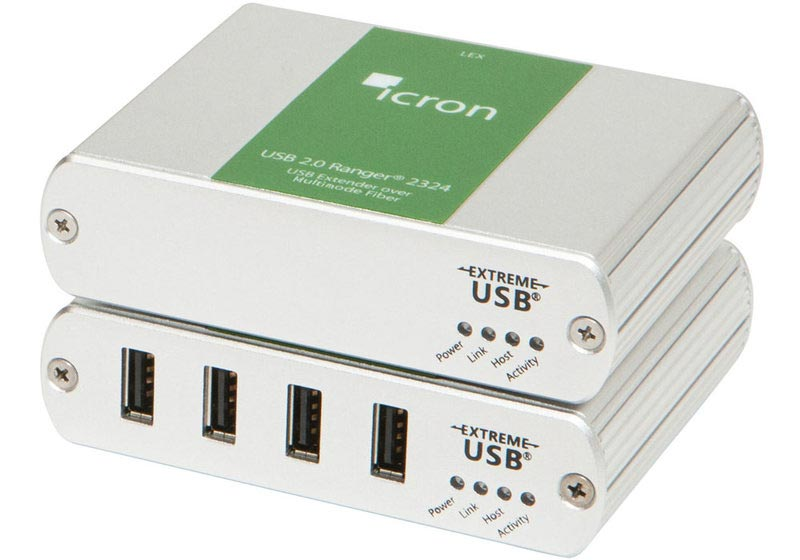 Ranger 2324 - USB 2.0 extender over 500 m MM fibre, 4-port hub