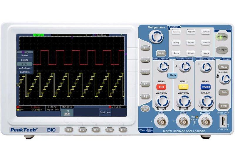 PeakTech P1310 - 125 MHz/2-Kanal, 1 GSa/s, Oszilloskop